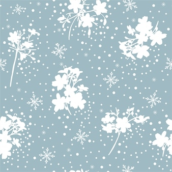 ロマンチックな青と白の雪のフレークと冬の花のシームレスなパターンベクトル、ファッション、ファブリック、壁紙、包装、すべてのプリントのデザイン