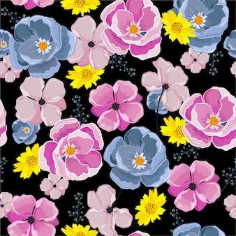 カラフルな花が咲く花の多くの種類の花のシームレスなパターンイラスト、ファッション、ファブリック、壁紙、ラッピングのデザイン