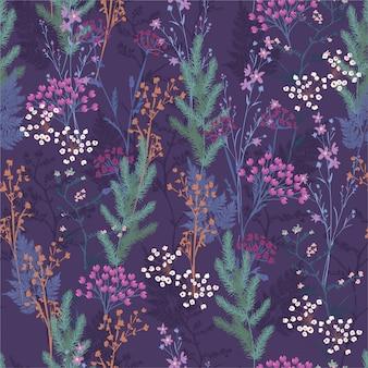 冬の気分、ファッション、ファブリック、壁紙、ラッピング、すべてのプリントのデザインで咲く多くの花と果実のシームレスな草原の花柄