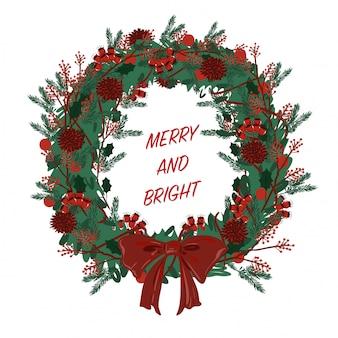 Рождественские элементы венок вектор счастливы празднуют настроение
