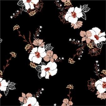 大きな咲くハイビスカスの花と植物の手描きスタイルのシームレスパターン
