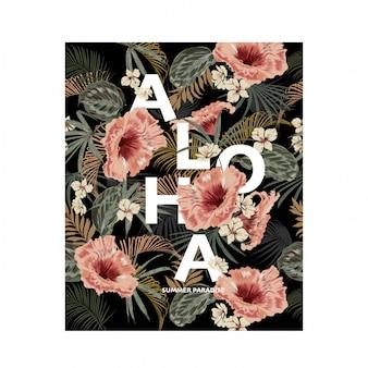 Вектор темные тропические экзотические цветы. цветочная композиция в ретро-гавайском стиле, со словом