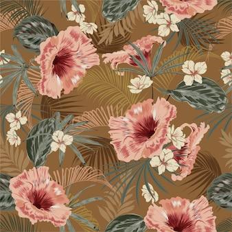 ヤシの木の熱帯ヴィンテージ気分の葉の美しいレトロなシームレスパターン壁紙