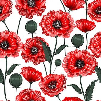 美しい咲く赤いケシの花のシームレスなパターン図