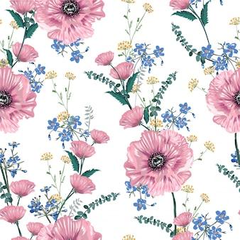 咲くピンクのケシの花と庭の花のシームレスなパターン図の柔らかくて優しい