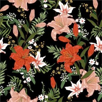 シームレスな暗いブーリングユリと熱帯の花のシームレスパターン