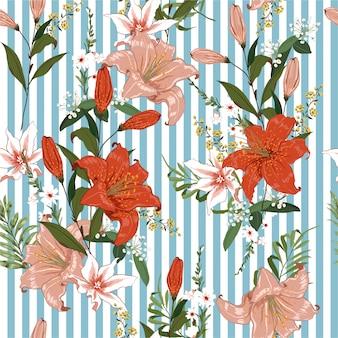 青く明るく新鮮な咲くジャングルガーデン植物花