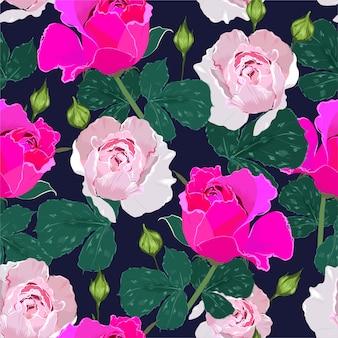 バラの花と葉のシームレスなパターン。