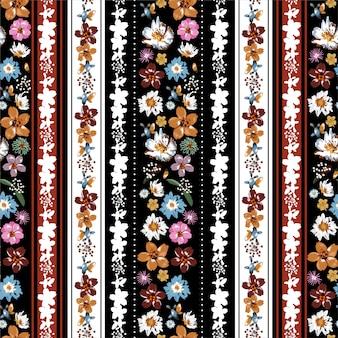 色とりどりの花のシームレスなパターンのスタイリッシュな垂直自由奔放に生きるストライプ