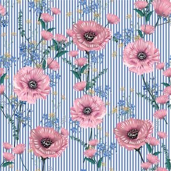柔らかく優しい植物の咲く庭の花の多くの種類の花のシームレスなパターン