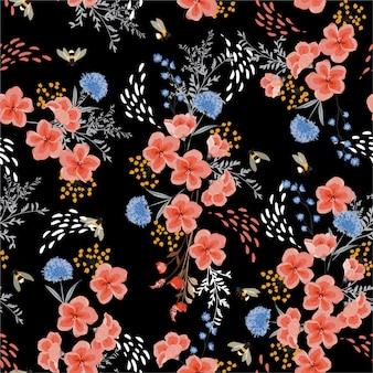 エレガントなシームレスな花、蜂と暗い庭の夜の花のパターン。手描きスタイル