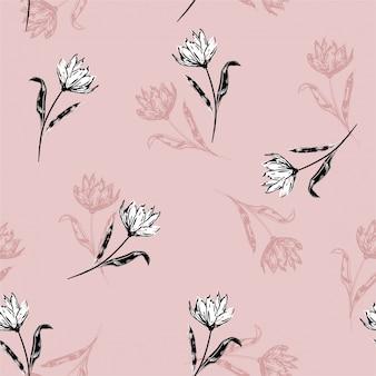 咲く植物の白いユリの花に咲く花柄モチーフがランダムに散らばっています。手描きスタイル