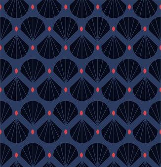 モダンな幾何学的な装飾的なシェル、シームレスパターンを残します。赤い点のレトロなスタイル