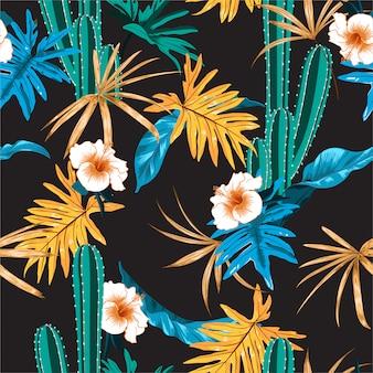 サボテン、ハイビスカスの花、エキゾチックなジャングルの美しい暗い熱帯の葉のシームレスなパターン