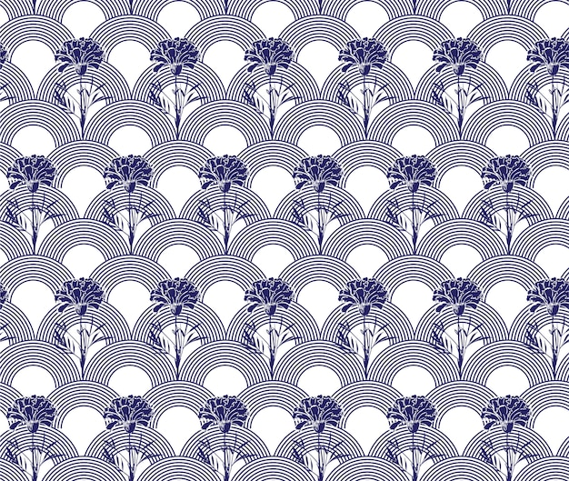 日本の波のシームレスなパターンでモダンな手描きのカーネーションの花