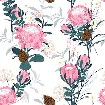 プロテア花ベクトルとシームレスなパターン