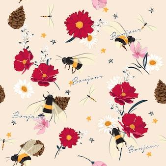 シームレスな野生の花や昆虫のイラスト