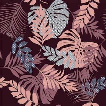 Узор силуэт тропических листьев с горошек