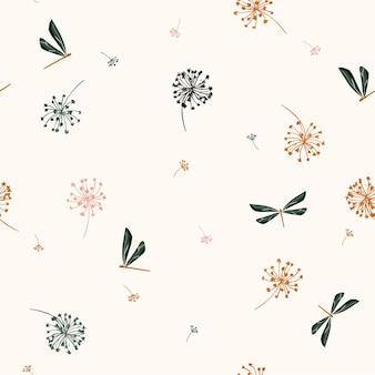 風の吹く花ベクトルとシームレスなパターンベクトル