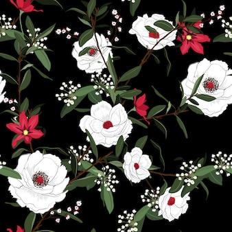 白い咲く花のシームレスなパターンベクトル黒