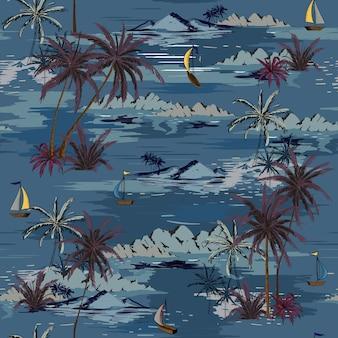Бесшовный островной рисунок пейзаж с пальмами, вектор