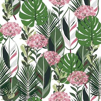 Летний ботанический рисунок листьев джунглей