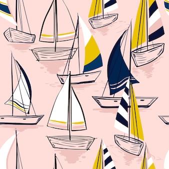 美しい手描きのスケッチシームレスな夏の海のパターン