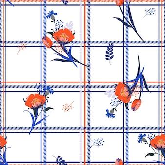Дует листья тюльпана и цветы бесшовные модели