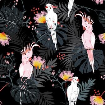 ジャングルのシームレスなパターンのベクトルでトロピカルオウムの鳥