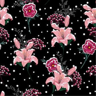 夜の雪の咲くユリの花、シームレスなパターンのベクトル