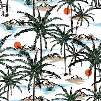手描きとラインスケッチ夏島シームレスパターン