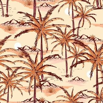 ヴィンテージ手描きのスケッチ夏島シームレスパターン
