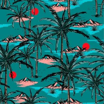 トレンディな手描きと線のスケッチ夏の島、
