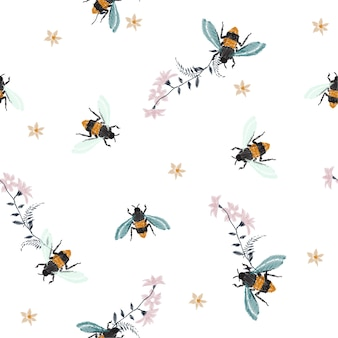 刺繍ミツバチ