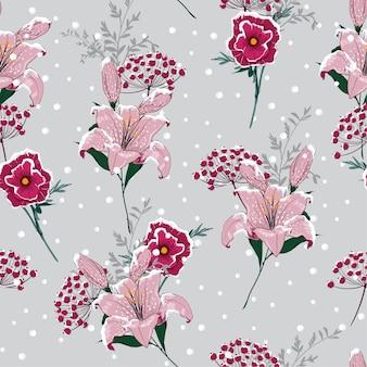 雪に咲く白い花のシームレスなパターンのベクトル
