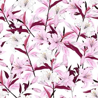 咲くユリの花植物のシームレスなパターン