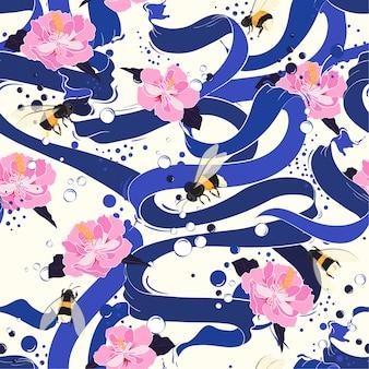 花のシームレスなパターンベクトルとブルーリボン