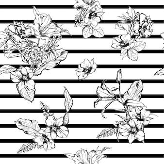 黒と白の手はモダンな花のシームレスなパターンを描く