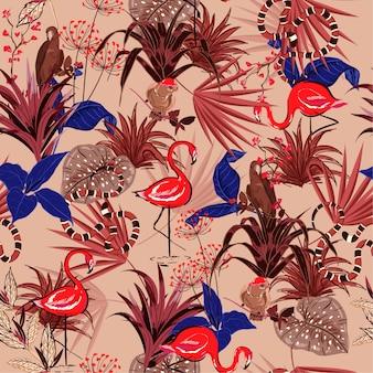 ヴィンテージ夏の熱帯の花のシームレスなパターン