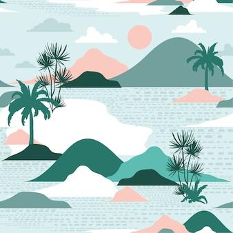 島のシームレスなパターンベクトルのパステルシルエット