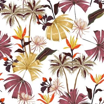 ヴィンテージシームレス美しい明るい熱帯のパターン