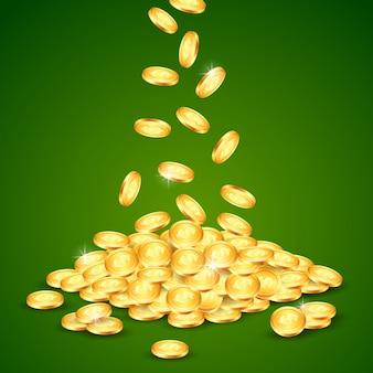 Падающая золотая монета.