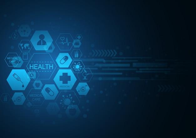 ヘルスケアアイコンパターン医療イノベーションコンセプトデザイン。