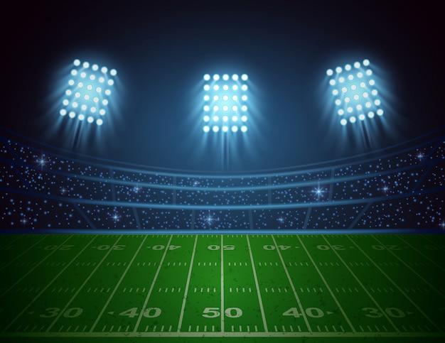 Арена американского футбола с ярким дизайном огней стадиона. векторная иллюстрация
