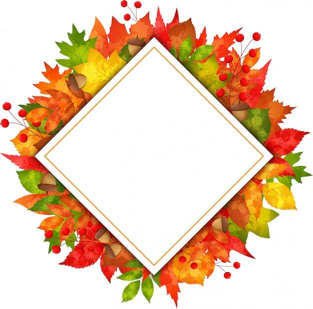 秋のバナーの葉、長方形の紙