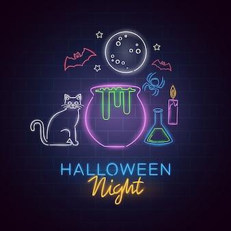Ночь хэллоуина неоновая вывеска. хэллоуин дизайн плаката шаблон неоновая вывеска, баннер света ужасов, неоновая вывеска