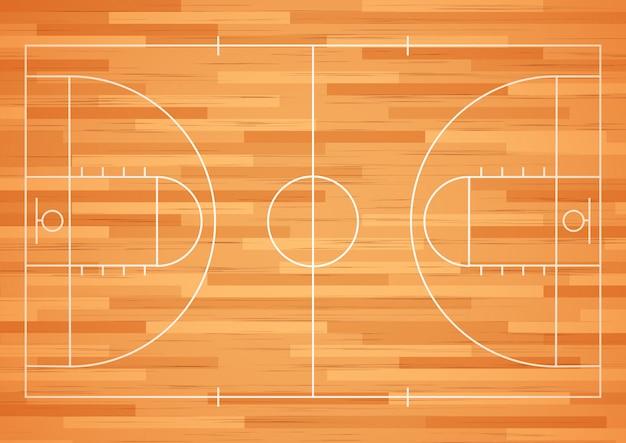 ライン付きバスケットボールコートの床。