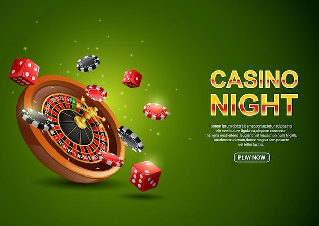 チップポーカーと輝く緑の赤いサイコロのカジノルーレットホイール。