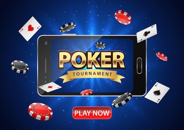 Онлайн покерный турнир с мобильным телефоном. покер баннер с фишками и игральными картами.