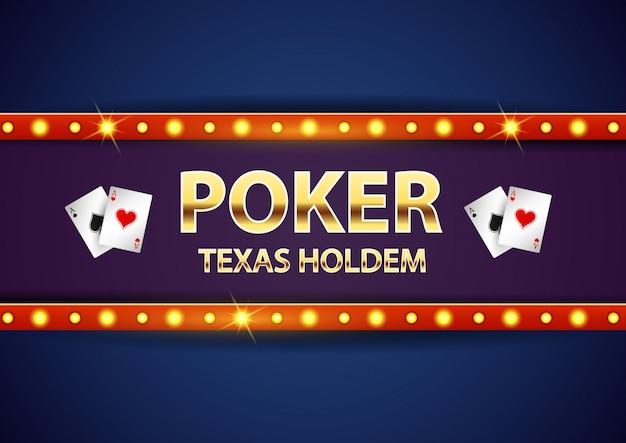Ретро вывески казино покер с текстом золота.